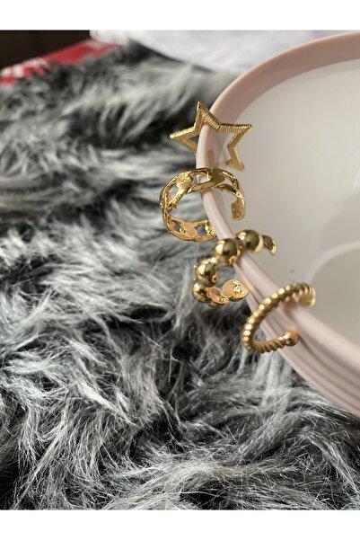 Modd Takı 4'lü Altın Set Kıkıradak Küpe Mdd852