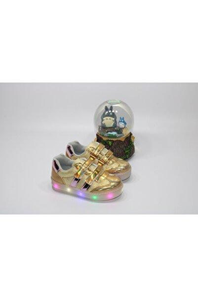 Minican Kız Çocuğu Çift Cırtlı Taban Komple Işıklı Altın Günlük Rahat Spor Ayakkabı