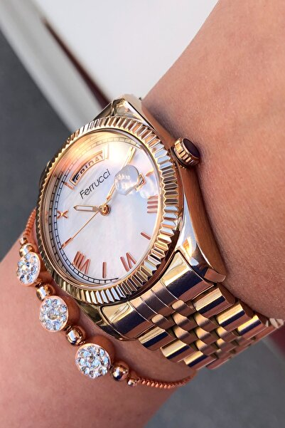 Ferrucci Kadın Rose Gold Çelik Kordon Kol Saati