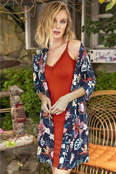 Anıl Kadın Lacivert Floral Desenli Gecelik Sabahlık Takımı