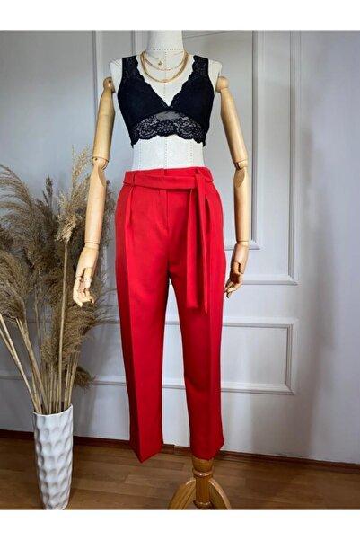 Flow Kadın Kırmızı Kemerli Kumaş Pantolın
