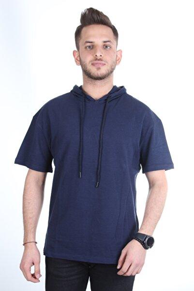 TREND YAŞAR Erkek Kapüşonlu Lacivert Oversize T-shirt