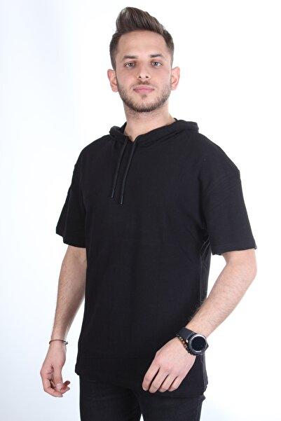 TREND YAŞAR Erkek Kapüşonlu Siyah Oversize T-shirt