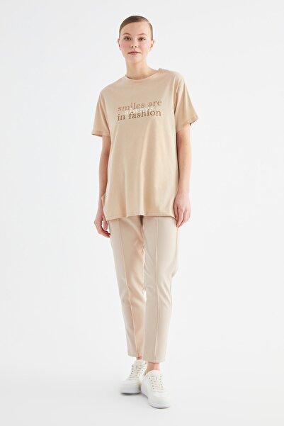 Trendyol Modest Bej Baskılı Kısa Kollu Örme Tesettür T-shirt TCTSS21TN0270