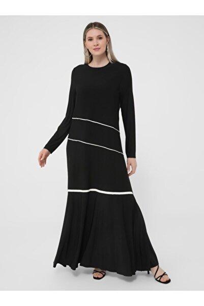 ALİA Kadın Siyah Ekru Büyük Beden Biye Detaylı Elbise