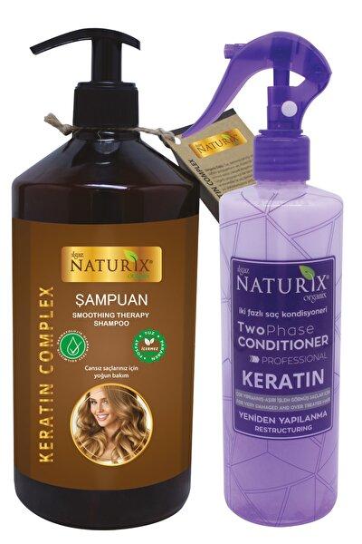 Ilgaz Naturix Organix Tuzsuz Keratinli Şampuanı 600ml Kırık Saç Uçları İçin Keratin Bakım Sıvı Saç Kremi Durulanmaz Krem