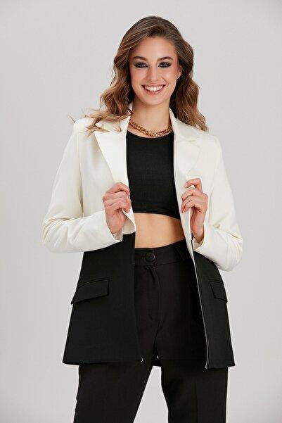 Y-London Kadın Siyah-Beyaz Renk Bloklu Blazer Ceket YL-CE99948
