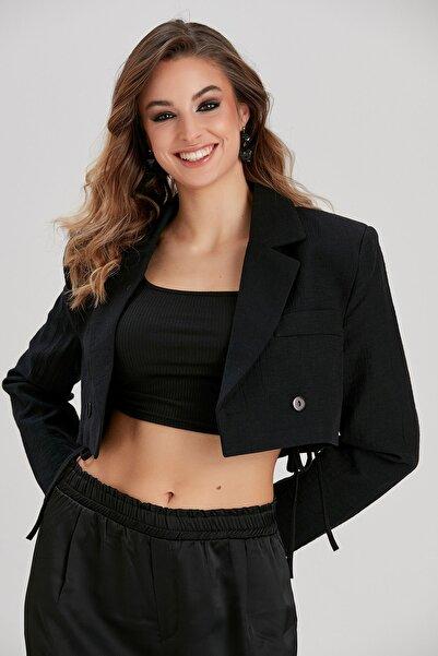 Y-London Kadın Siyah Kısa Ceket YL-CE99953