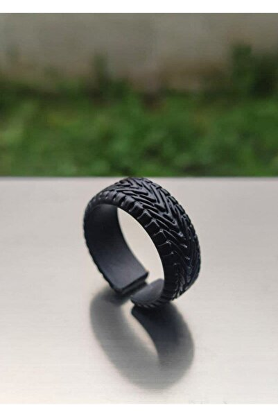 The Collection Erkek Mat Siyah Halka Wheel Şövalye Model Ayarlanabilir Yüzük
