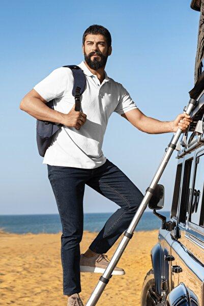 ALTINYILDIZ CLASSICS Erkek Beyaz Polo Yaka Cepsiz Slim Fit Dar Kesim %100 Koton Düz Tişört