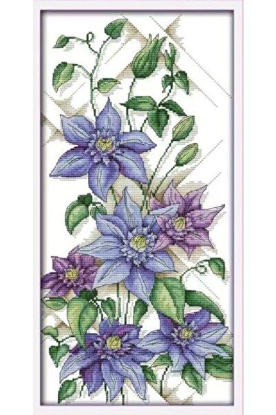 Hobi Merkezim Kanvas Kanaviçe Etamin Kiti - Goblen Çapraz Dikiş Seti Mavi Yıldız Çiçeği