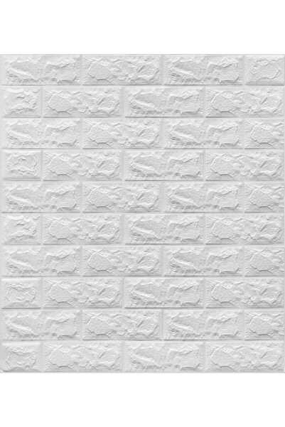 Renkli Duvarlar Yapışkanlı Sünger Beyaz Tuğla Duvar Kağıdı Kaplama Paneli 70x77 Cm 6 Adet