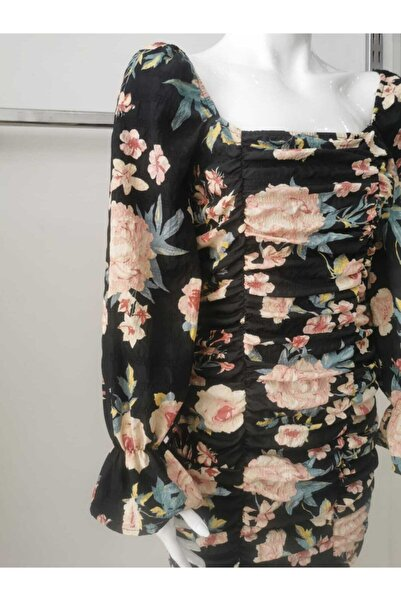 Sateen Kadın Çiçek Desenli Elbise