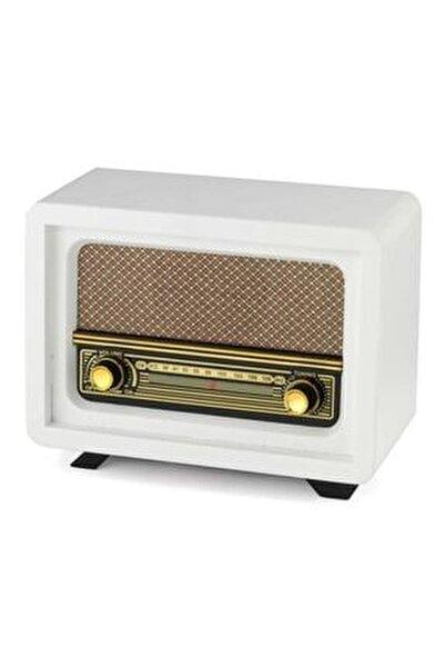 Ahşap Retro Nostaljik Radyo Beyoğlu Model Beyaz Renk Şarjlı Pil+adaptörlü