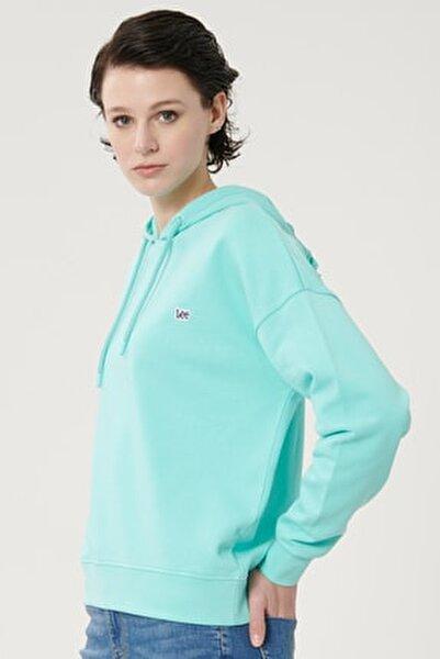 Kadın Turkuaz %100 Pamuk Kapüşonlu Sweatshirt