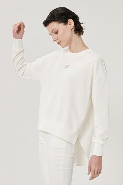 Lee Kadın Kırık Beyaz Regular Fit %100 Pamuk Sıfır Yaka Sweatshirt