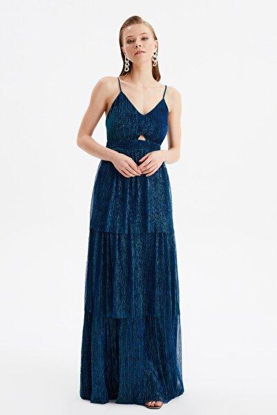 TRENDYOLMİLLA Lacivert Fırfırlı Abiye & Mezuniyet Elbisesi TPRSS21AE0262