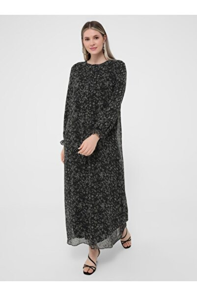 ALİA Kadın Siyah  Büyük Beden Desenli Şifon Elbise