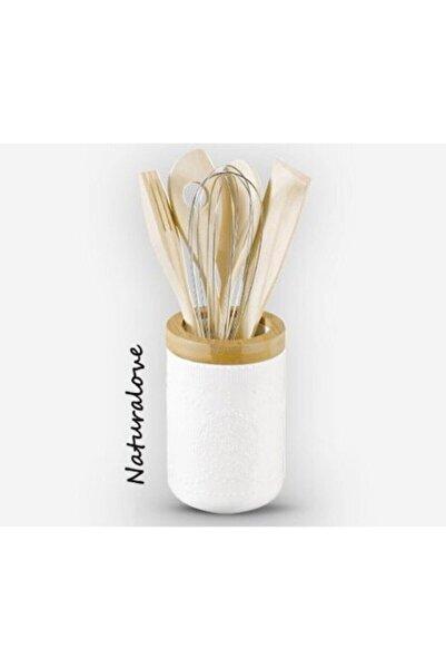 Naturalove Porselen Hazneli 5 Parça Mutfak Aletleri Kepçe Takımı Bambu