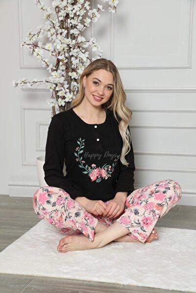 FREZYA Kadın Siyah Çiçekli Düğmeli Uzun Kollu Pijama Takımı