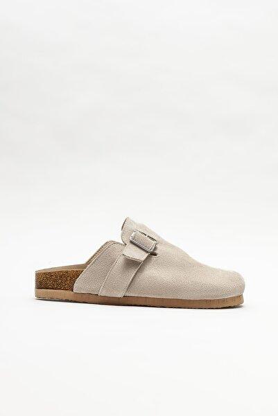Elle Shoes Kadın Bej Deri Düz Terlik