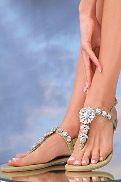 Kadın  Hakiki Deri Mint Günlük Taşlı Sandalet