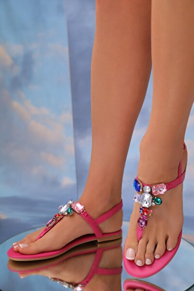 Oblavion Lavion Hakiki Deri Fuşya Günlük Taşlı Kadın Sandalet