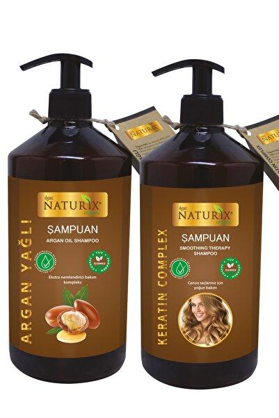 Ilgaz Naturix Organix 2'li Tuzsuz Argan Yağlı Şampuan + Keratin Şampuan 600 Ml Bitkisel Şampuan Paraben Içermez