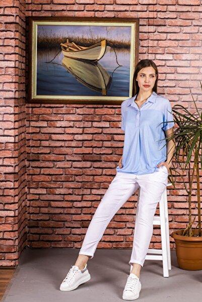STAMINA Kadın Açık Mavi Kısa Kol Patı Düğmeli Bluz-4bl06