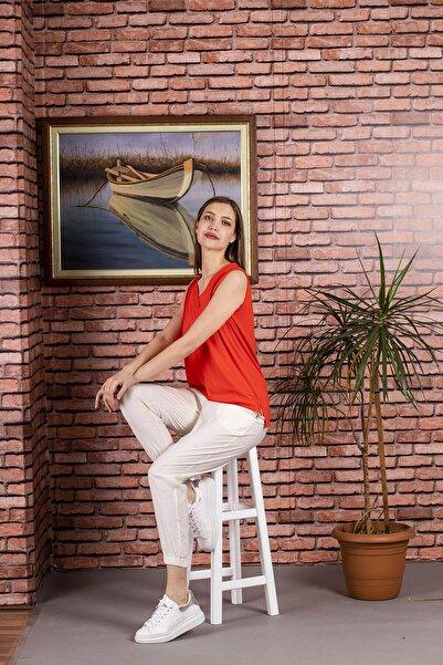 STAMINA Kadın Nar Çiçeği  V Yaka Kolsuz Bluz-5vs05y