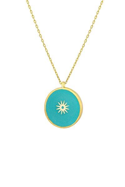 Gimora Mavi Güneş Mineli Madalyon Gümüş Kolye
