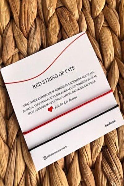 Red String Ip Çift - Sevgili Bilekliği Kırmızı Siyah