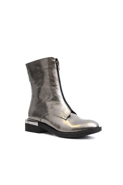 Beta Shoes Hakiki Deri Kadın Antrasit Rugan Bot
