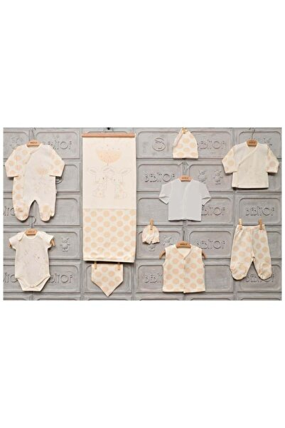 Bebitof Unisex Bebek Krem Tavşan Aşkı Zıbın Seti Yeni Doğan 0-3 Ay 10 Lu