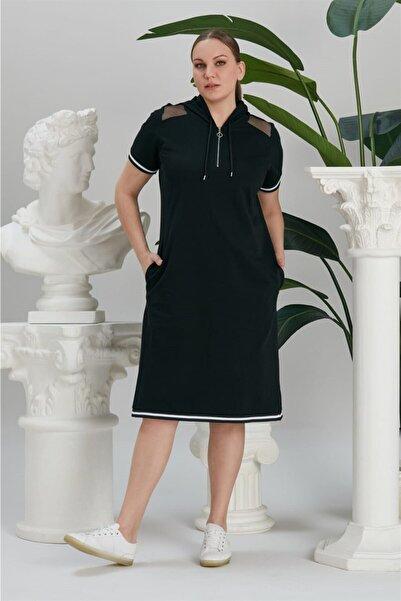 RMG Kadın Siyah Kapsonu ve Omuzda File Detaylı Elbise