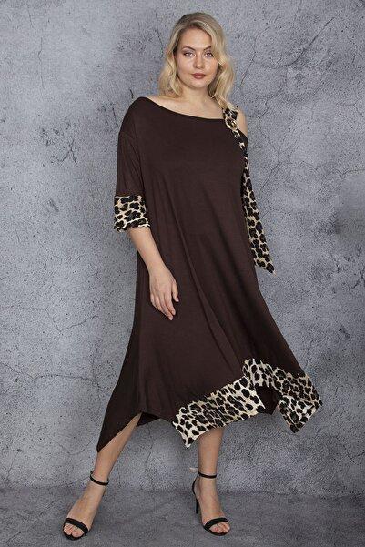 Şans Kadın Mürdüm Omuz Detaylı Garnili Elbise 65N24202