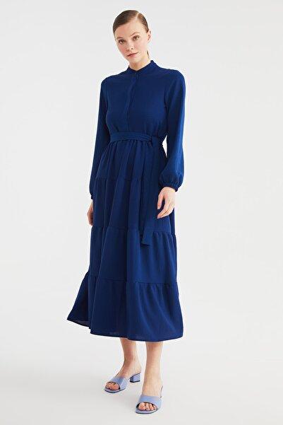 Trendyol Modest Saks Kuşak Detaylı Dokuma Elbise TCTSS21EL3343