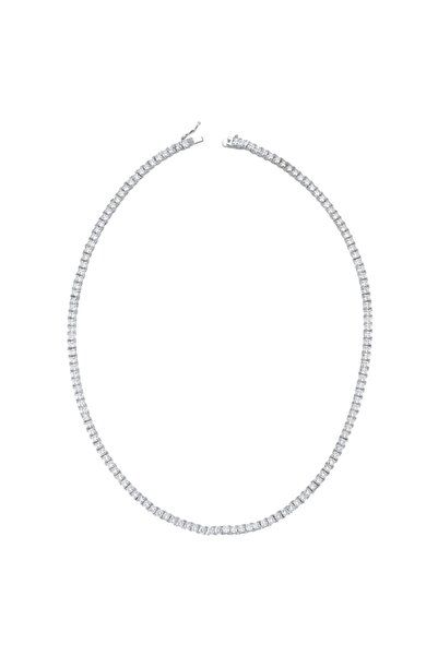 Luzdemia Kadın Gümüş Rodyum Kaplama Zirkon Taşlı Su Yolu Kolye (TENNİS NECKLACE 925 - 4MM / 33.08GR)