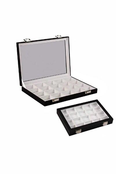 kutuveaksesuar Bölmeli Kutu Takı,malzeme Kutusu Siyah Içi Beyaz
