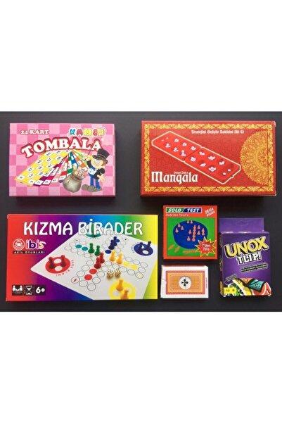 Kırtasiye Market Yılbaşı Seti 6'lı Eğlenceli Oyunlar Tombala Kızmabirader Mangala Solotest Iskambil Unox
