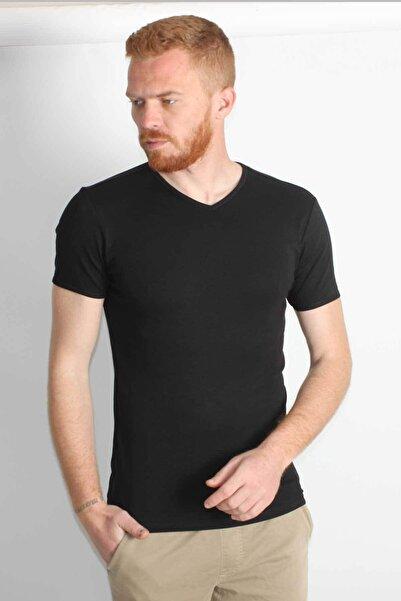 Five Pocket Erkek Siyah V Yaka Pamuklu T-shirt