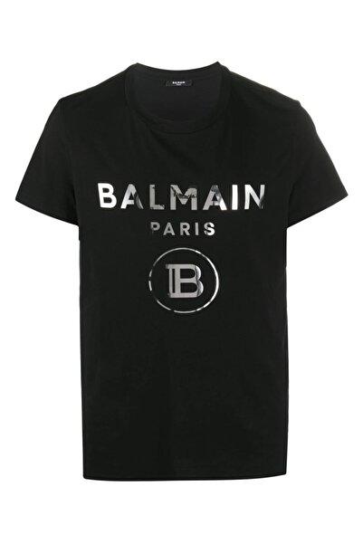 BALMAIN Siyah Balmain Logo Metal Baskı Regular Fit T-shirt