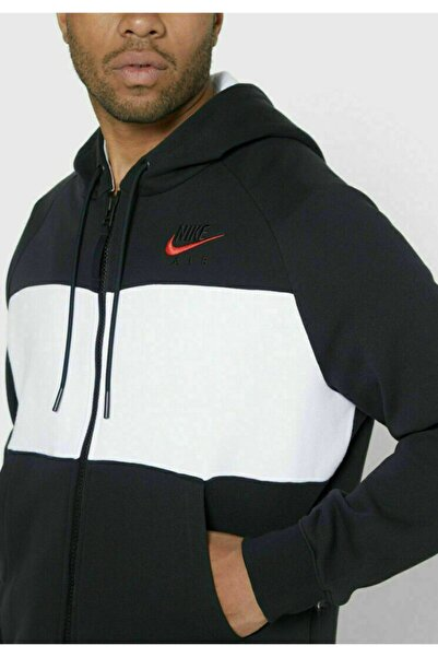 Nike Air Black White Red Swoosh Full Zip Fleece Hoodie