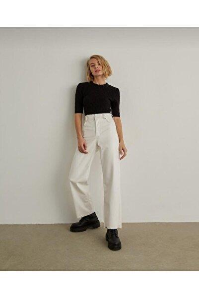 EZFER Kadın Beyaz Deri Pantolon