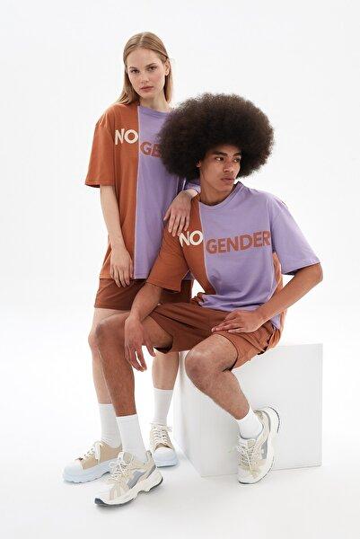 TRENDYOL MAN Lila Unisex Oversize Renk Bloklu T-Shirt TMNSS21TS3363