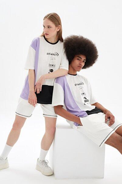 TRENDYOL MAN Beyaz Unisex Oversize Renk Bloklu T-Shirt TMNSS21TS3365