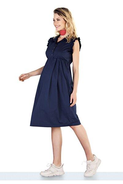 Ebru Maternity Kadın Lacivert Koton Hamile Elbisesi