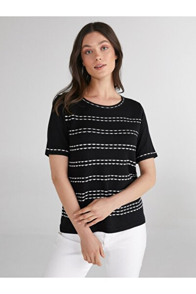 Faik Sönmez Kadın Siyah Sim Çizgili Yuvarlak Yaka Triko Bluz 62625