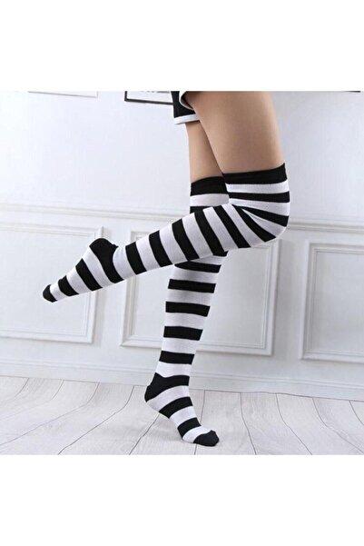 Köstebek Kadın Siyah Beyaz Çizgili  Gotik Punk Diz Üstü Çorap