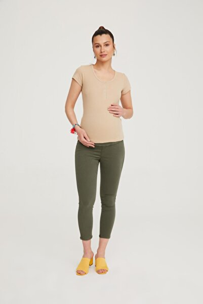 VAVIEN Kadın Haki Hamile Süper Strech Tensel Skinny Fit Pantolon 1079